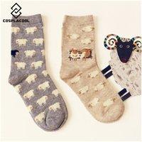 Wholesale Pair New Caramella Lovely Fashion Cartoon Sheep Cotton Color Socks For Women Creative Cute Girls Female Soft Mieas