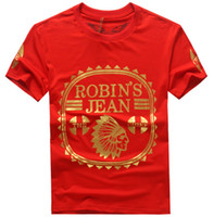 Wholesale Mens Robin T Shirts High Quality American Jeans T Shirt For Men Cotton Summer T Shirts Tees Robin Jeans Clothing M X