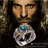 al por mayor antiguos anillos de compromiso de época-Aragorn anillo de Barahir vintage retro antiguo cristal de plata verde para hombres y mujeres al por mayor