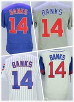bank logos - Mens Ernie Banks Jersey New Baseball Jerseys Stitched Throwback Embroidery Logo Blue Grey White Size S XL