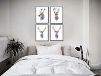 Digital printing art paint abstract triptych - Triptych Original Watercolor Deer Head Animals A4 Art Print Poster Wall Pictures Living Room Canvas Painting No Frame Home Decor