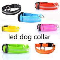 al por mayor collares de nylon correas-LED de luz intermitente perros collar de perros Al aire libre luminosa noche de seguridad Nylon Colorido collar Leash resplandor en la oscuridad con carga USB Carga