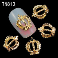Wholesale D Nail Art Decorations Gold Hollow Out Crown With Cross Glitter Rhinestones Studs For Charms Nails TN813