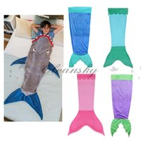 Wholesale Fedex DHL Free Kids Baby Mermaid Sleeping Bag Shark Crystal Wool Warm Sleep sacks Children Mermaid Tail Fleece Blankets Soft Blankets Z588