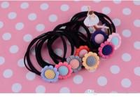 achat en gros de accessoires de cheveux de fleurs jaunes-New Arrive Pink Flower Femmes Cheveux Rubber Bandes Accessoires Cheveux 2016 Yellow Sun Flower Cuir Femmes Cheveux Rubber Bandes Cheveux Accessoires 121