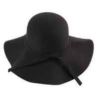 Wholesale Winter Spring Fedora Hat Vintage Women Wool Felt Wide Brim Bowler Jazz Church Cloche Cap chapeu sombreros lana gorros cappelli