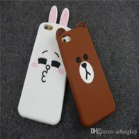 Case Wholesale Cute Brown Bear Lovely White Rabbit Deux couleurs Silicone Cell Phone Case Back Cover