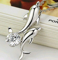 Women's bay plant - Europe and the United States hot selling Dolphin Bay Lovers Zircon Necklace D6