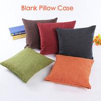 Wholesale 100pcs plain colorful cotton linen blend blank cushion cover pillow case candy color plain pillow case custom print design