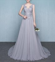 Wholesale Fabulous deep V neck and open back long gray bridesmaid dress evening gown with spectacular handmade beaded on bodice