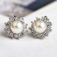 Wholesale CZ Diamond crystal clip earrings for women Silver Plated simulated Pear Earring Fashion Jewelry ear cuff Bijoux top quality