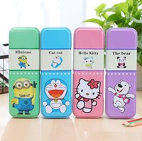 Wholesale YW Aolin Mix colors Double Layer Metal Pencil Boxes for Kids Children cute Cartoon Pencil box wholesales mix color min order free ship