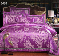 Jacquard beautiful cleaning - Luxury purple tencel silk bedding sets jacquard peony floral bed clothes pretty beautiful wedding bed linens hot sale