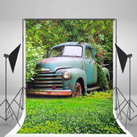 Wholesale 5x7ft x210cm Green Spring Photo Backgrounds White Flowers Grassland Floor Photography Backdrops Retro Car Boys Background