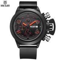 arts sports watch - MEGIR Elegant Classic Black Men s Watch Classical Art Carved Craft Design Precision Time Chronograph Men Sport Watches Relogios