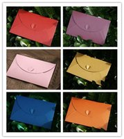 Wholesale 20 Paper Gift Envelope Invitation Card Packaging Candy color Heart Closure Paper Envelopes