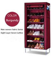 Wholesale Fashion Non Woven Fabric Eight Layers Seven Lattice Folding Pack Simple Shoe Rack Storage