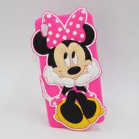 achat en gros de xperia z1 étui souple-3D Soft Cute Cartoon Minnie Mouse Case Silicon Back Cover pour Sony Xperia Z1 Z3 Compact Z3 Mini Z5 T3 M2 M4 Aqua M5 E4 C4 Étuis pour téléphone portable
