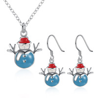 asian theme wedding - Christmas Theme red blue yellow snowman necklace earrings piece jewelry
