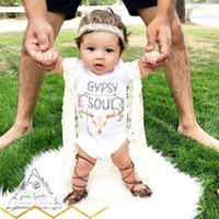 Wholesale Baby Rompers Suit Summer Infant GYPSY SOUL letter Elk Head Printed Triangle Romper cotton Short sleeved babies clothes boy girl one piece