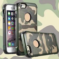 al por mayor blindaje de armadura-Nuevo ejército Camo 2 in1 Shield casos funda híbrida resistente a prueba de choques del teléfono de la armadura Camoflage para el iphone 4 5 5s 6 6s más
