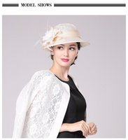 Wholesale 2017 Europe America dinner party noble type formal hats cap for lady top Fashion Sinamay elegant Natural yarn Hat With Flower