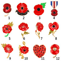 Wholesale Broches De Strass Enamel Red Poppy Brooches Flower Diamante Crystal Broach Banquet Badge Brooch Breastpin Hijab Pins And Brooch