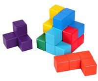 adult mind games - Multi color D Wooden Soma Puzzle Brain Teaser IQ Mind Wood Tetris Cube Puzzles Game Toys for Children Adults