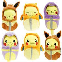 Wholesale NEW FASHION pc pikachu Charizard Eevee Ekans Sleeping bag Pikachu plush toy doll cosplay