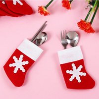 Wholesale Mini Christmas Stockings Dinnerware Cover Xmas tree decorations Christmas Decorations Festival Party Ornament