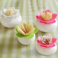 Wholesale Creative Lotus Cotton Swab Box Cotton Bud Holder Case Home Decorate Toothpicks Holder Storage Box Organizer cm Lotus Cotton Swab Holder
