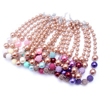 Wholesale 2PCS Newest Design Gold Color Necklace Birthday Party Gift For Toddlers Girls Beaded Bubblegum Baby Kids Chunky Necklace Jewelry