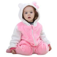 Wholesale IDGIRL pink cat love Hot Baby Boy Clothes Cotton Flannel Quilted Jumpsuit Cartoon Animal Baby Rompers Girl Baby Clothing days arrival