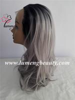 2017 nuevas pelucas de las mujeres del estilo Pelucas sintéticas baratas del frente del cordón del pelo del pelo gris pelucas flojas de las mujeres de la onda floja mirada muy natural