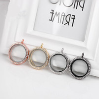 Wholesale Round Magnetic Floating Locket Glass Living Memory Locket Necklaces with Rhinestone without chain Mix Color mm