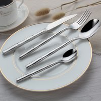 bamboo dinnerware - 4pcs set Bamboo Dinnerware Set Top Quality Stainless Steel Dinner Steak Knife Fork Spoon Teaspoon Party Cutlery Set