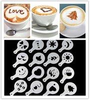 Wholesale 16Pcs Fashion Cappuccino Coffee Barista Stencils Template Strew Flowers Pad Duster Spray Home Decoration