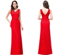 Wholesale Red Full Lace Floor Length Sheath Designer Prom Dresses V Neck Lace Appliques Sequins Low Back Evening Gowns Cheap Red Carpet Gowns
