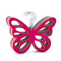 Nouveau style perle papillon Hanger blanc écharpe en plastique Hanger organisateur cravate ceinture placard rangement support crochet Livraison gratuite ZA2817