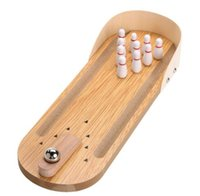 Wholesale Mini Wooden Desktop Bowling Game Set Kids Children Developmental Toy Gift Decor Baby House Entertainment Toys Christmas Gifts