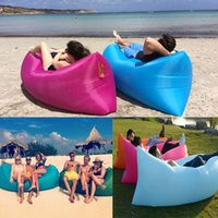 Wholesale Fast Inflatable Air Sleeping Bag Hangout Sofa Beach Mat Lazy Chair Polyester Air Beach Bed Couch Lay Bag Travel Bed WX P06