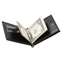 designer money clip wallet p4qc  Wholesale- New Brand Luxury Business Man money clip wallet with metal clamp  magnet hasp card slots slim designer leather purse for men