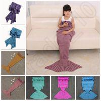 bedding gifts - Kids Mermaid Tail Blankets cm Sleeping Bag Bedding Warm Soft Handmade Knitted Sofa Blanket Christmas Gift colors OOA936