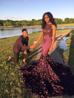 Wholesale 2016 Luxury Vintage Burgundy Prom Dresses Jewel Neck Sequined Mermaid Handmade Flower Long Sweep Train Party Evening Gowns BO9772