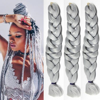 """Cheap 41"""" Synthetic Crochet Jumbo Braids Hair Extensions Sivery Grey Color Xpression Braiding Hair Extensions 100g PC"""