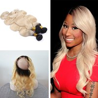 band dark - Brazilian Virgin Hair Dark Root Ombre B Body Wave Bundles With Pre Plucked Full Lace Band Frontal Closure Adjustable
