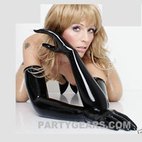 Wholesale OEM service pure latex D moudl fetish opera long gloves rubber moulded seamless latex gloves plus size L XL available
