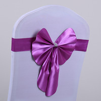 2017 Bow pré-lié Spandex Lycra Wedding Chair Cover Sash Bands Wedding Party Birthday Chair boucle sashe Décoration Couleurs disponibles