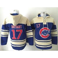 Wholesale Chicago Cubs Kris Bryant Lace Up Pullover Hooded Sweatshirt Champion Baseball Hoodies Discount Cheap Blue Baseball Sweaters for Men