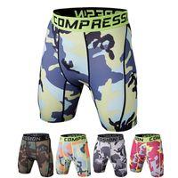 basketball underwear - Men underwear Elastic Yoga Shorts Sports Running Tights Camouflage Shorts For Men Basketball Running Gym Jogging Compression Tights A111114